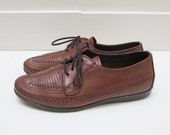 Vintage Dexter Womens Brown Leather Lace-up Oxfords Loafers Moccasins Flats Size 8.5 Size 9