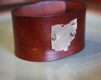 Ohio Nickel Leather Cuff Bracelet, Leather State Cuff with Nickel, Groomsmen Gifts, Bridesmaid gifts