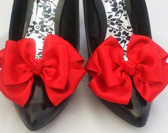 Red Shoe Clips Pinup Burlesque Satin Bows for Shoes Retro Vintage Style by Seriously Sassyx