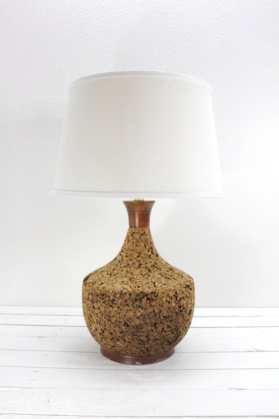 Mid Century Modern Cork Large Lamp Oversized By Atomicattic