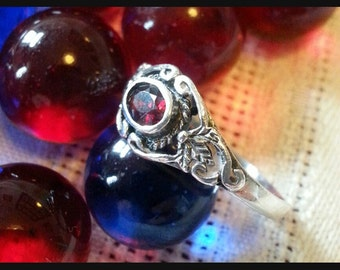 Garnet and Sterling Silver Embellished Ring - Creative Energy, Strength, Protection