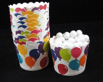 Festive Balloons  Baking Cups, Candy Cups, Dip Cups, Nut Cups, Weddings, Party Cups, Candy Buffets, Circus Party, Favor Cups, QTY 12