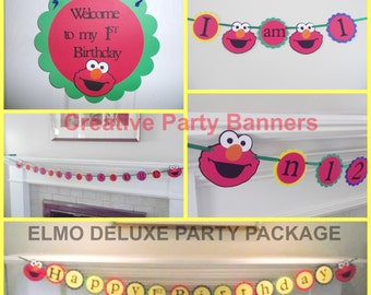 ELMO FIRST birthday package - I am 1, sesame street - first birthday, Happy 1st Birthday, ELMO party