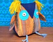 SALE Retro Orange Owl in 70s Abstract Geometric Vintage Fabric