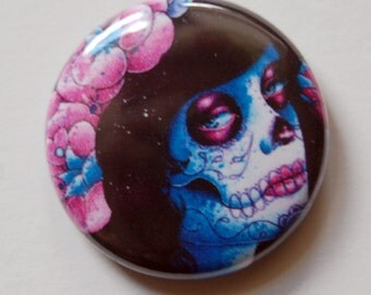 1 inch Pin Back Button - Could It Really Be - Day of the Dead Sugar Skull Lady Pop Art Portrait Pinback Button Accessory Badge