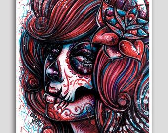 Day of the Dead Sugar Skull Girl Colorful Pop Art Neon Tattoo Poster 18x24 inch Signed Art Print Dia De Los Muertos Pop Art Revive Decor