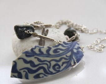 Dragonfly, antique shard, nature inspired long silver necklace