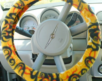 Fleece - ( Warm ) -  Car  Steering Wheel Cover - ( Cars Only ) -  Yellow Flame
