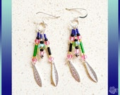 Hooks, Silver Feathers, Pink, Green, Blue, Black Seed Beads, Pink AB Czech Crystals Lightweight Triple Earrings, Sterling Silver Ear Wires