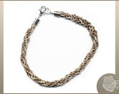 """9.5"""", Unisex Brown Natural Hemp Kumihimo Braided Fiber Bracelet, Silver Plated End Caps and Lobster Clasp"""