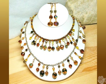 """18"""" Necklace Topaz Colorado Topaz Smoky Quartz Czech Swarovski Crystals 2-Strand Gold n Silver Chains And/Or Matching Dangle Gold Earrings"""