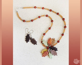 """17"""" Necklace Coconut Shell Autumn Colors Leaves CPendant Orange Aventurine Beads Brown Fossil Beads And/Or Matching Dangle Silver Earrings"""
