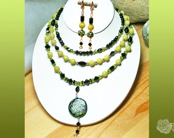 "15-20"" Necklace Yellow Jade Jet Black Czech Beads Crystal Bicones Green Snake Pendant 3 Strands And/Or Sterling Silver Leverbacks Earrings"