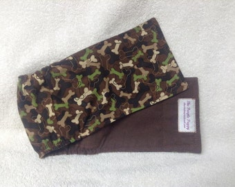 Male Dog Belly Band Diaper Pet Wrap  Camo Bones On Brown Custom Sizes To 16 Inches Only Last Of The Litter