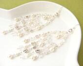 Rhinestone chandelier earrings, wedding earrings, large bridal earings, costume jewelry, pearl and rhinestone earrings. JENNIFER Large.