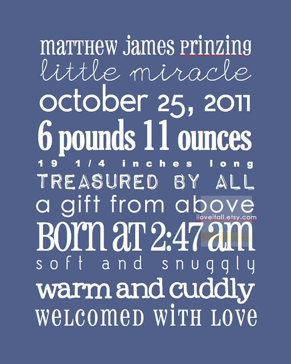 Personalized 8x10 Newborn Baby Custom Birth Announcement . Date Print . Nursery Decor Adoption Subway Art . 8x10 . Customizable Poster Print