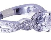 18k white gold round cut diamond engagement ring prong deco 1.09ct h-vs2 egl usa