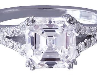 18k white gold asscher cut diamond engagement ring art deco split band 2.39ctw