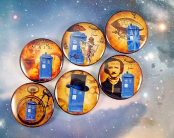 Dr. Who Magnets Pins, Fridge Magnets, Party Favors, Gift Sets