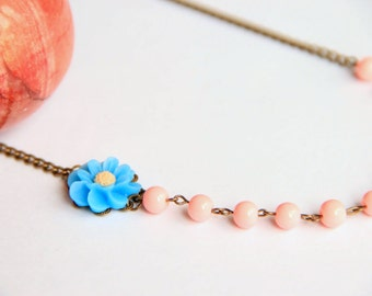 Cij Pink beaded adjustable necklace with blue flower, antique brass chain , gift for her necklace, wedding necklace, bridesmaid necklace