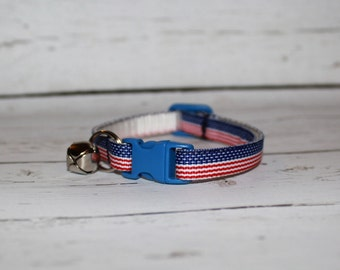 Patriotic Red White and Blue Cat/Kitten Collar- Adjustable & Breakaway