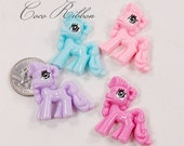 12~24pc Colorful Pony Flatback Resin Cabochons - Choose Your Color H01