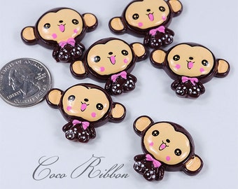 12/24/50pc 35mm Monkey With Flower Kawaii Bling Flatback Resin Cabochon