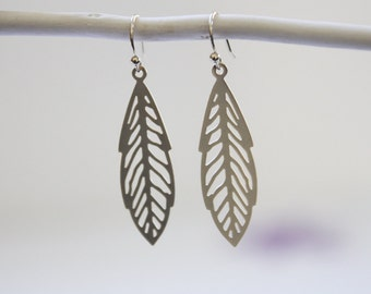 Leaf Earrings. Matte Silver. Statement Earrings. Everyday Wear. Modern Chic. Gift For Her (SER-61)