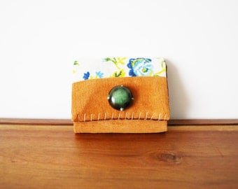 CLEARANCE--Upcycled Floral and Corduroy Business or Credit Card Holder with Large Green Button