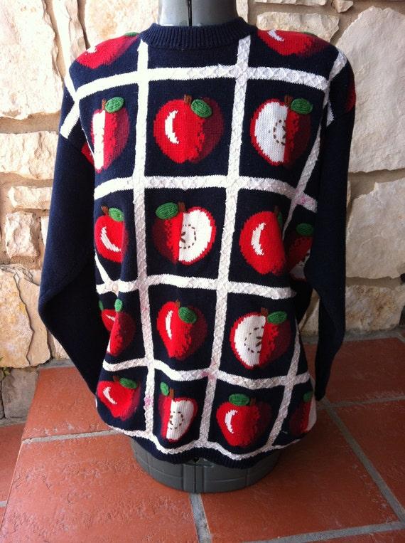Vintage Novelty APPLE Tree Print Pullover Sweater