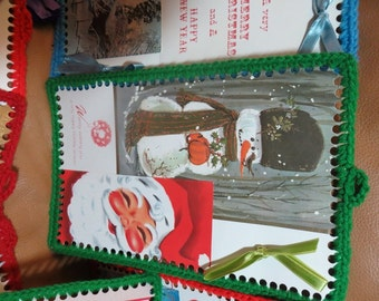Lot of 20 Vintage Crocheted Christmas Greeting Cards