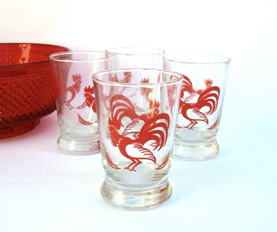 Vintage Red Rooster Juice Glasses Retro Libby