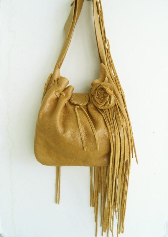 tan leather handbag, shoulder purse, with rose flower,  fringe and ruffle by Tuscada. Ready to ship.