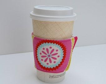 Eco-Friendly Coffee Sleeve, Pink Coffee Sleeve, Pink Coffee Cup Wrap, Suzani Coffee Cup Cozy, Reusable Coffee Sleeve