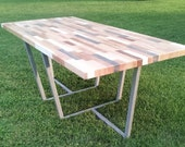 Wood Table Dining Table Conference Table Reclaimed Wood Table with Metal Legs Painted Table