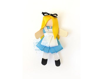 Alice in Wonderland sculpture ribbon hair clip / baby hair clip / barrette / girl hair clip...