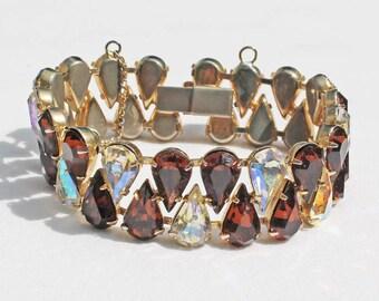 Vintage Smoked Topaz and Aurora Borealis Pear Rhinestone Bracelet