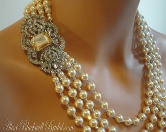 Great Gatsby Pearl Necklace with Brooch and Long Backdrop Art Deco Bridal Jewelry 4 multi strands Champagne Swarovski pearls and Rhinestone