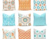 Euro Sham, Turquoise Pillow, Orange Pillows,  Decorative Throw Pillow Covers Orange and Turquoise  24 x 24  Inches Orange Chevron Pillows