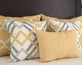 Pillow Shams - Gold Pillow Covers - Yellow Bedding - Decorative Throw Pillow Covers - Monogram Pillow - Gold Shams - Gold Pillowcase