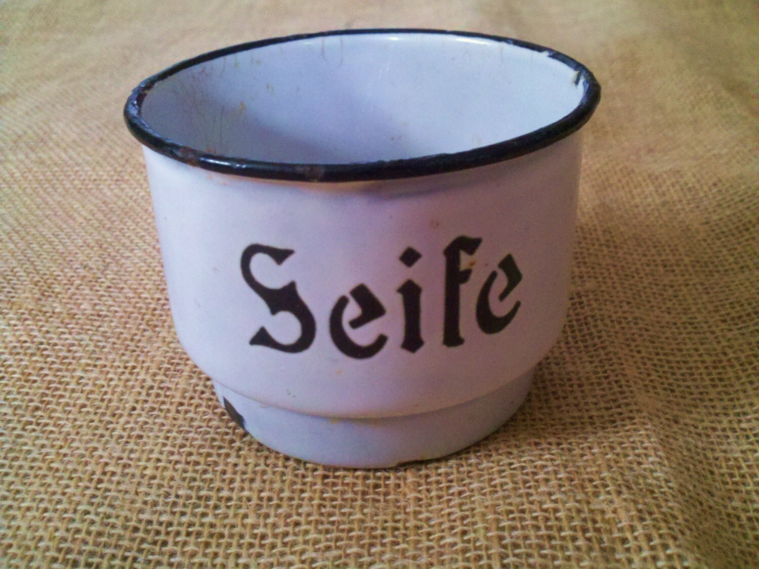 Vintage Enamelware Soap Dish German Seife Black And White