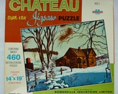 Vintage Somerville Industries Jigsaw Puzzle - 460 pieces - Country Home in Winter - Made in Canada - Sealed Box