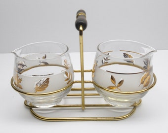 Vintage Decanter Set  with Carrier Frosted Gold Leaf Glass