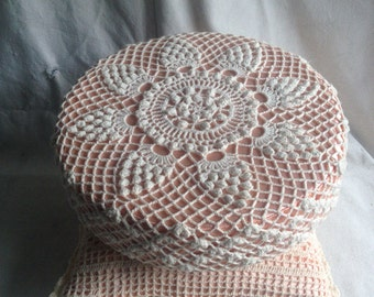 Pair of Vintage peach satin pillows with crochet covers
