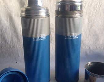 Vintage Universal Vacuum thermos  wide mouth thermos. Small mouth thermos. Thermos pair  blue and gray thermos