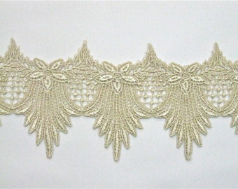 WOW Venice Lace 1 YD Victorian Swag 4 inches wide Golden Dyed