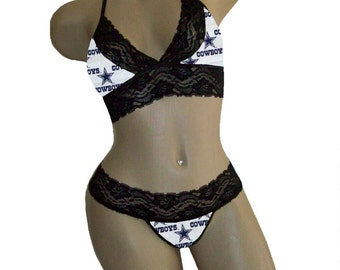 Sexy Dallas Cowboys NFL Lingerie Black Lace Cami Bralette Style Tie-Top and Matching G-String CUSTOM Sizing