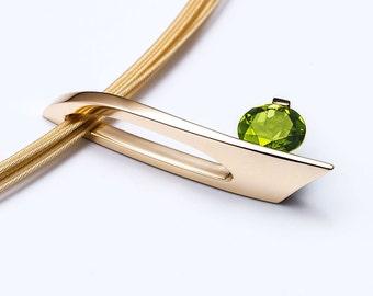 14k gold necklace, peridot pendant, 14k yellow gold, August birthstone, modern jewelry, green gemstone, luxury gift, christmas gift - 3458