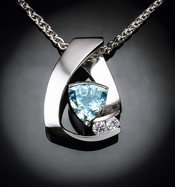 aquamarine necklace, March birthstone, fine jewelry, aqua pendant, wedding necklace, white sapphires, Argentium silver, fine jewelry - 3452