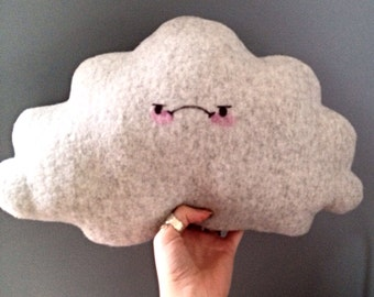Grumpy rain cloud pillow in soft grey fleece